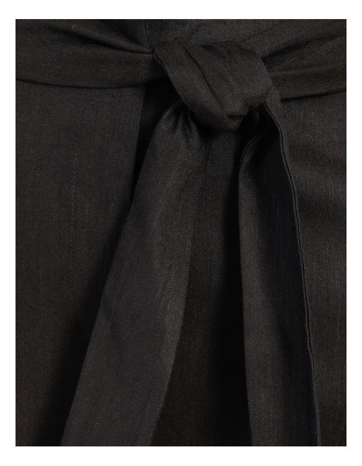 Self Tie Black Linen Wide Leg Pants image 5