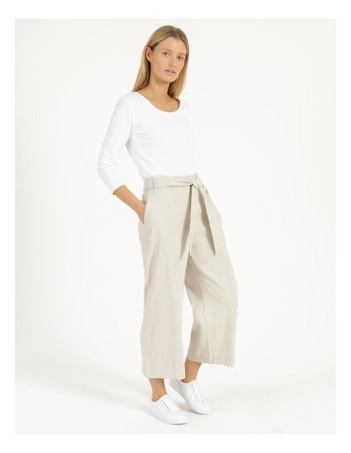 Self Tie Natural Linen Wide Leg Pants image 1