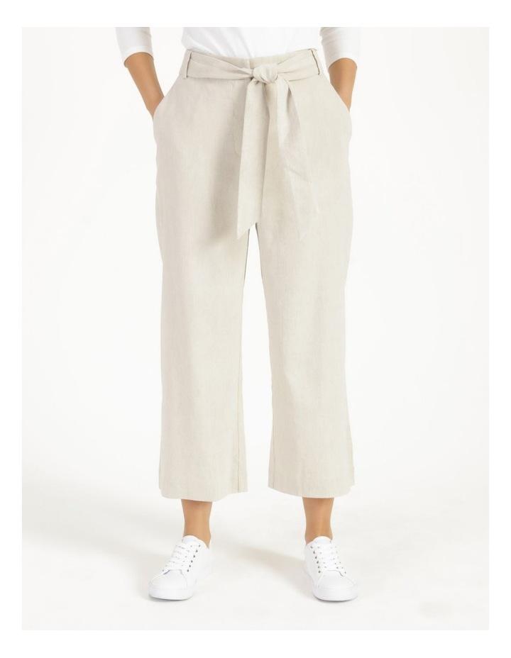 Self Tie Natural Linen Wide Leg Pants image 2