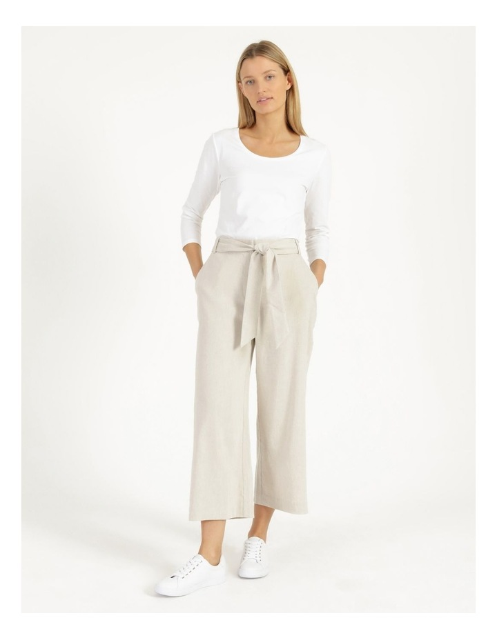 Self Tie Natural Linen Wide Leg Pants image 3