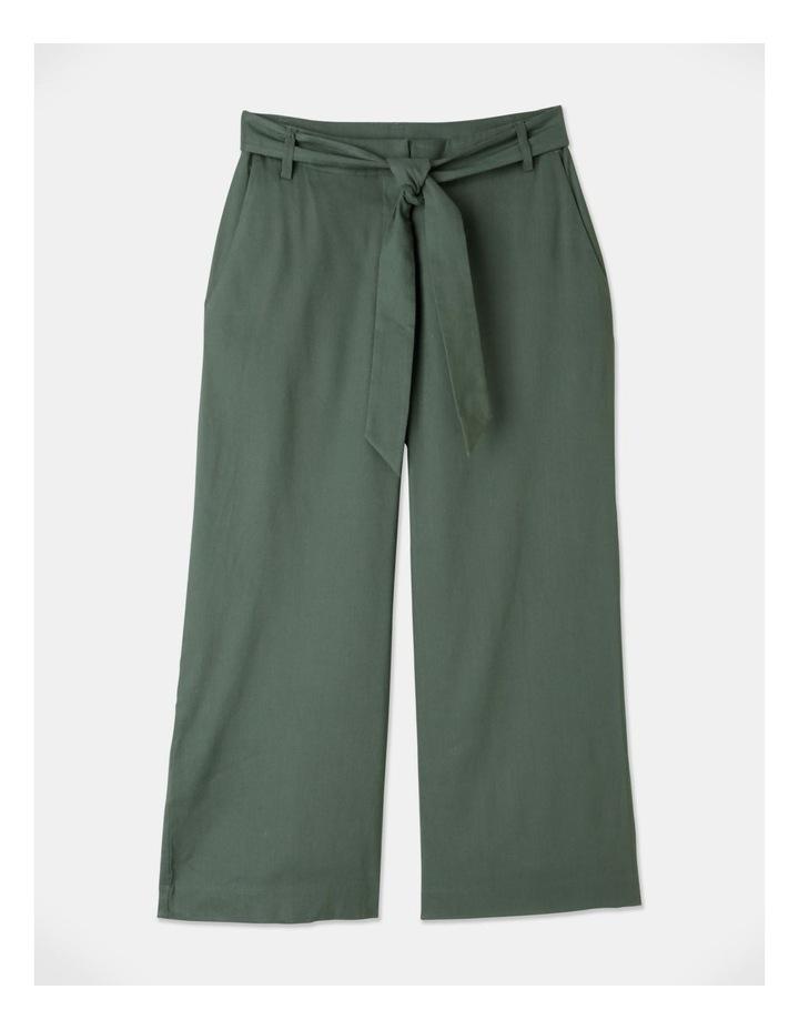 Self Tie Wide Leg Linen Pant Khaki image 1