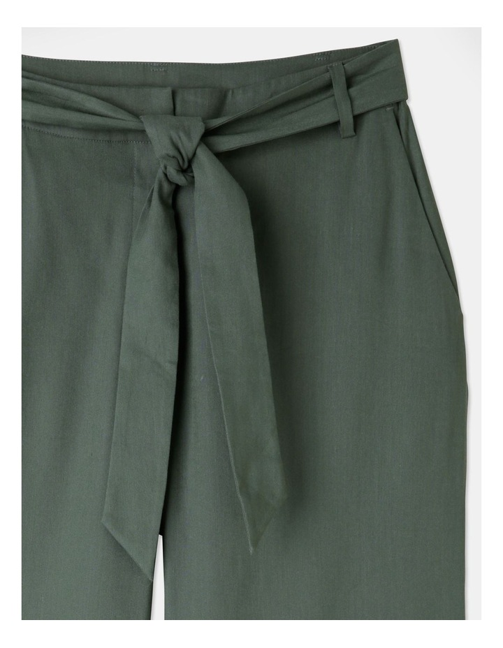 Self Tie Wide Leg Linen Pant Khaki image 2