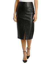 Basque - Pu Midi Skirt