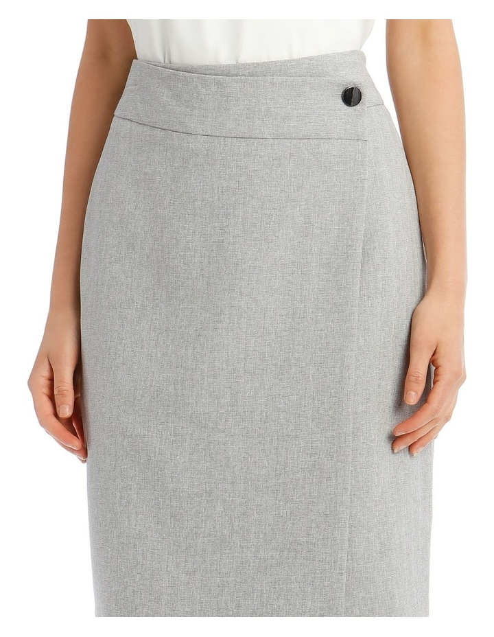 Grey Textured Suit Skirt image 4