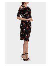 Basque - Brushstroke Cold Shoulder Jersey Dress