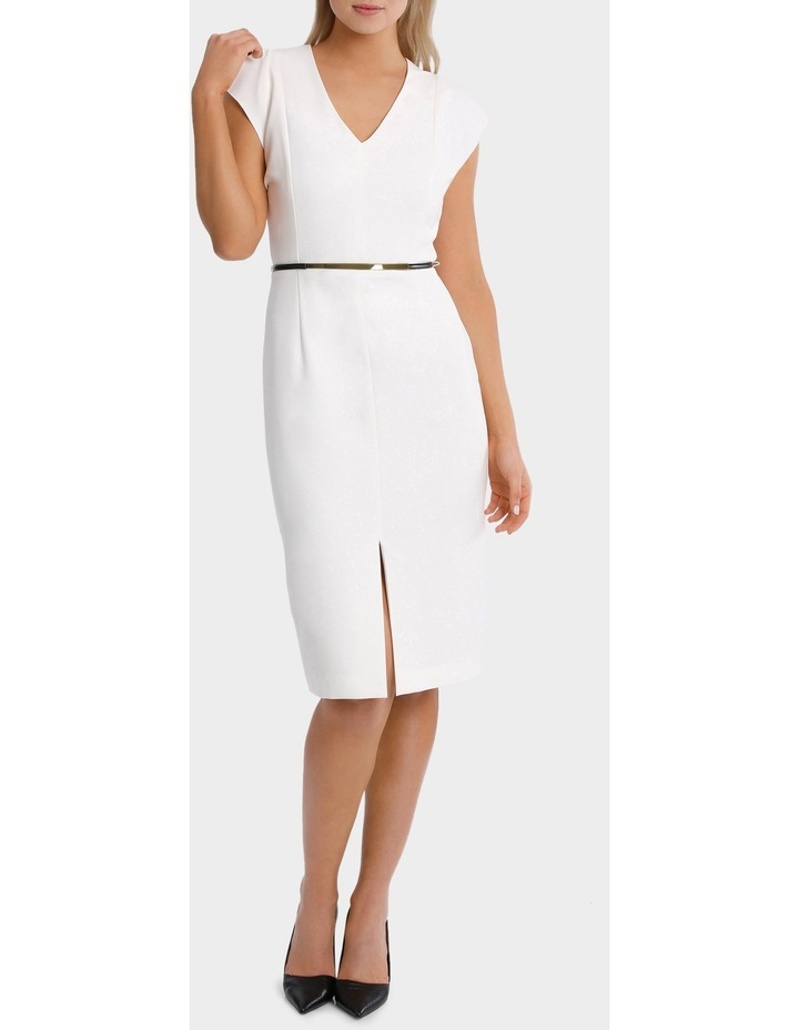 Vee Neck Belted Midi Dress image 1