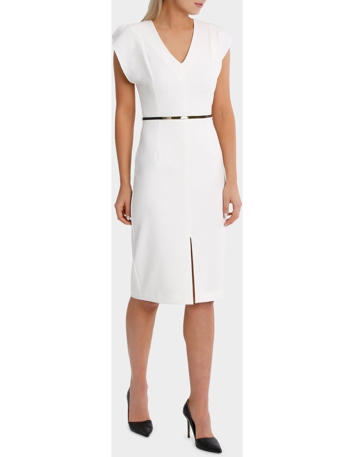 Vee Neck Belted Midi Dress image 2