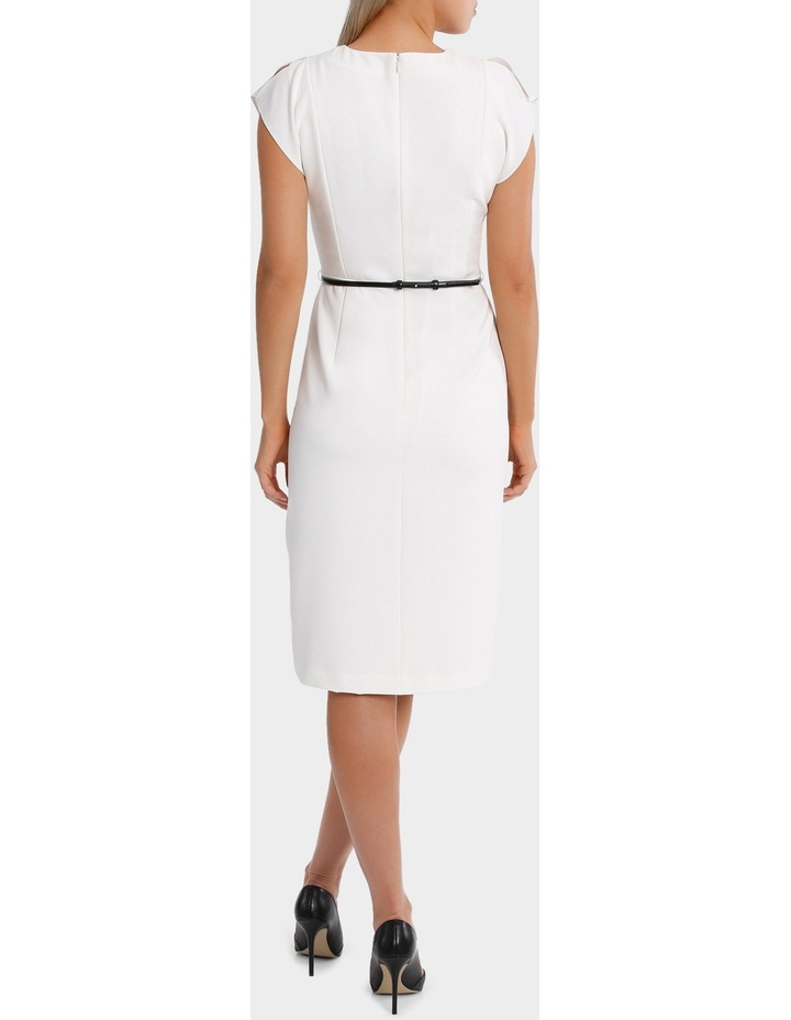 Vee Neck Belted Midi Dress image 3