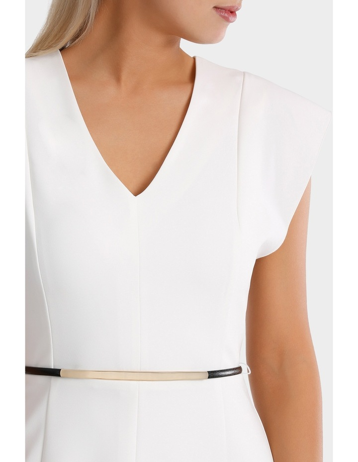 Vee Neck Belted Midi Dress image 4