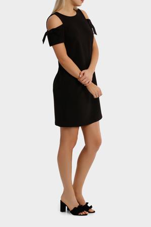 Basque - Tie Sleeve Exposed Shoulder  - Work Dress