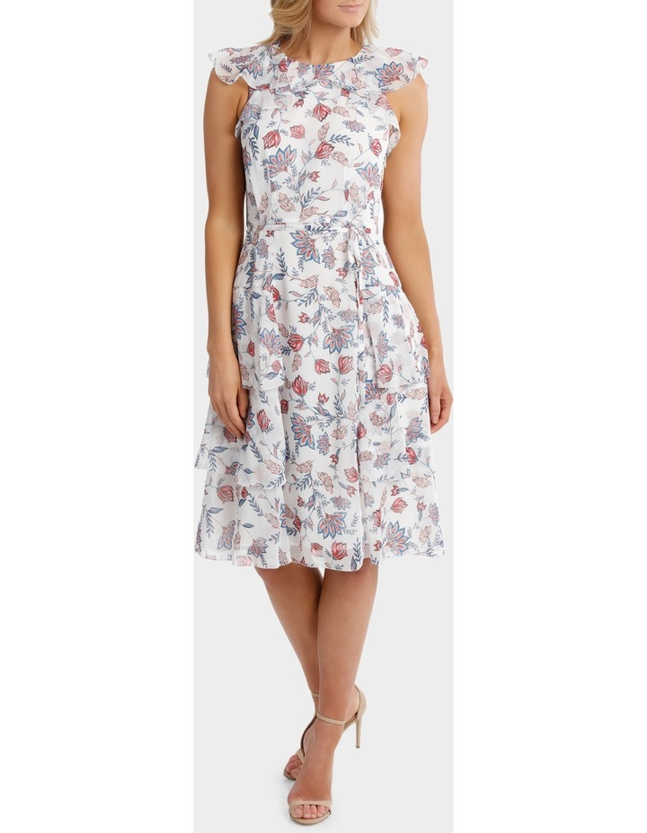 Sketched Garden Print Salsa Ruffle Tiered Dress image 1