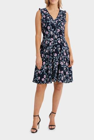 Basque - Trailing Pansy Print Vee Neck Full Skirt Dress