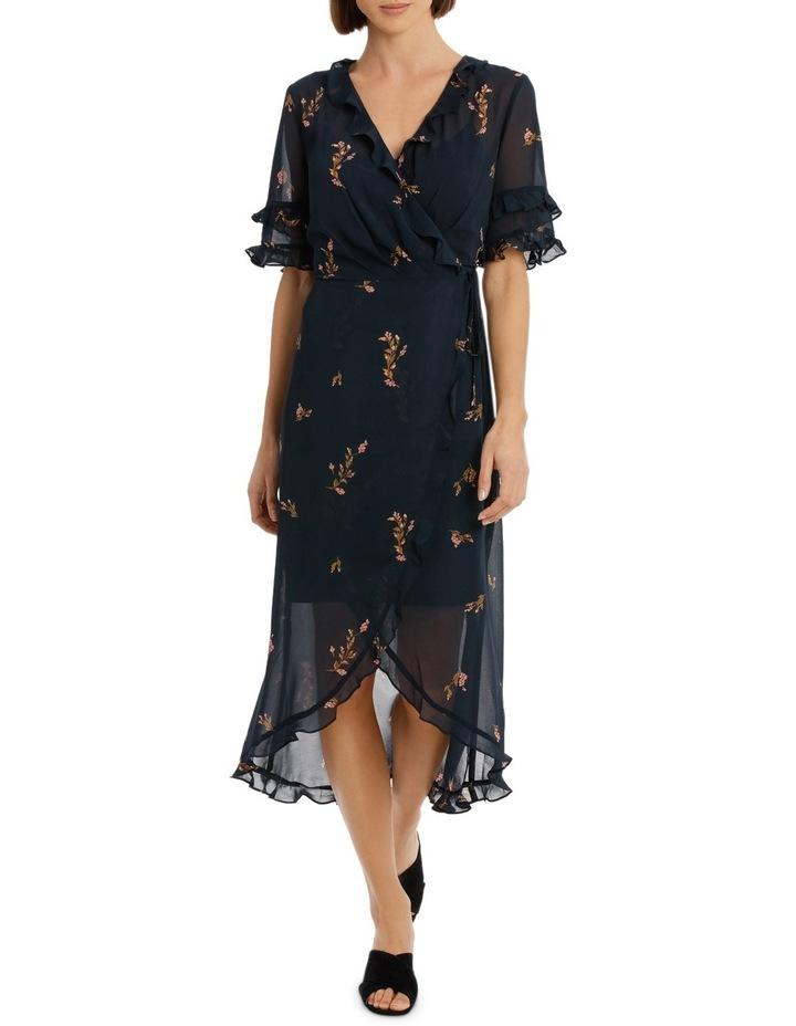 Cluster Floral Wrap Elb Sleeve Dress image 1