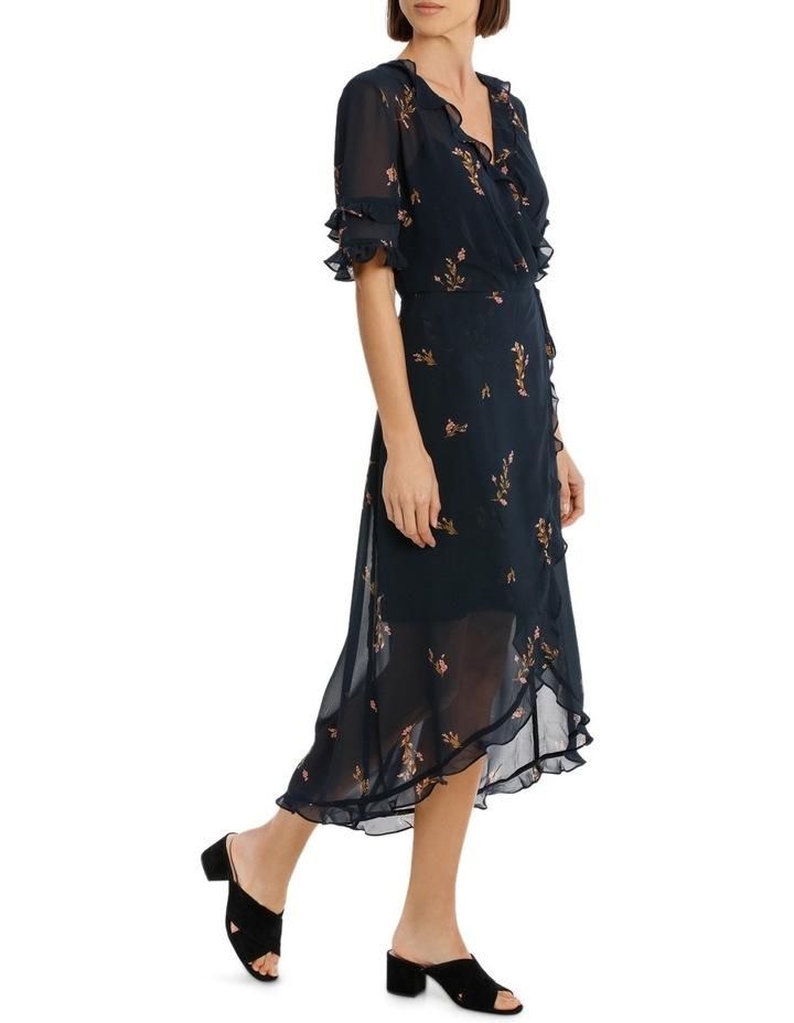 Cluster Floral Wrap Elb Sleeve Dress image 2