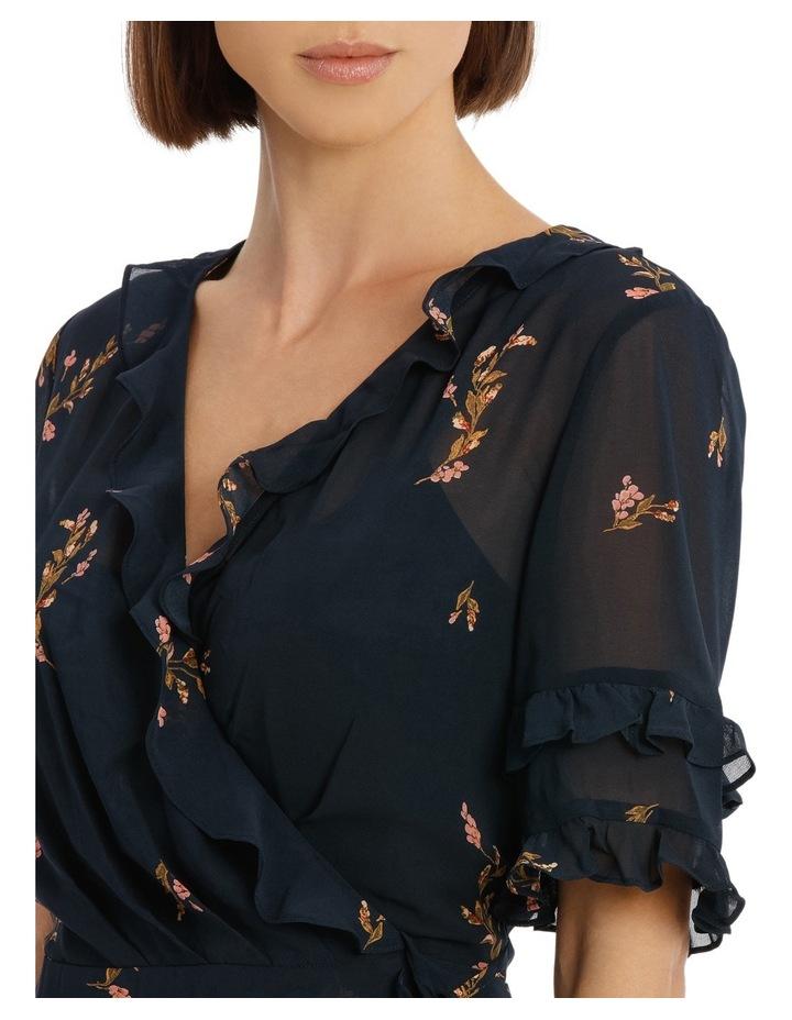Cluster Floral Wrap Elb Sleeve Dress image 4