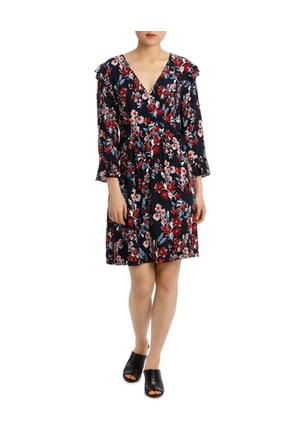 Basque - Posie Floral Frill Sleeve Wrap Dress