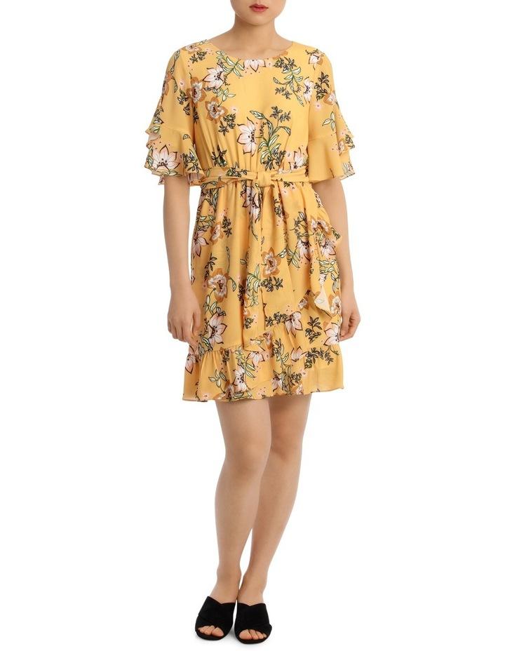 Passionfruit Bloom Mock Wrap Ruffle Dress image 1