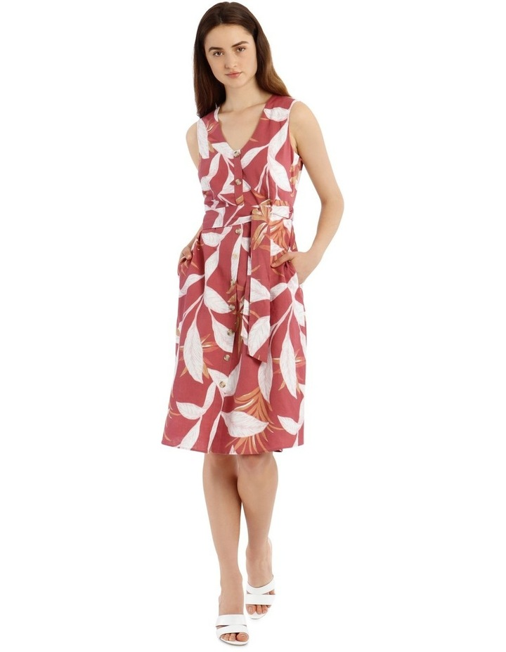 Linen Button Front Midi Dress image 1