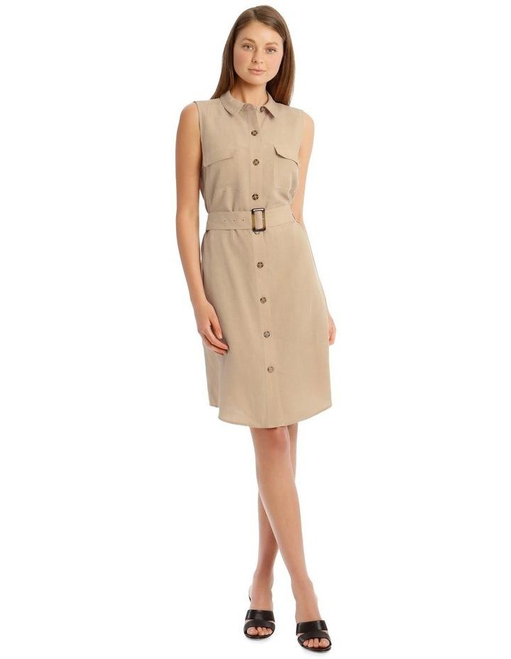 Linen Blend Sleeveless Shirt Dress image 1