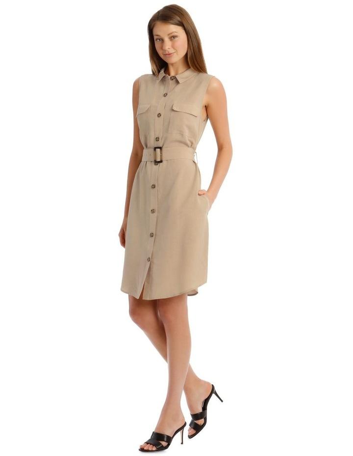 Linen Blend Sleeveless Shirt Dress image 2