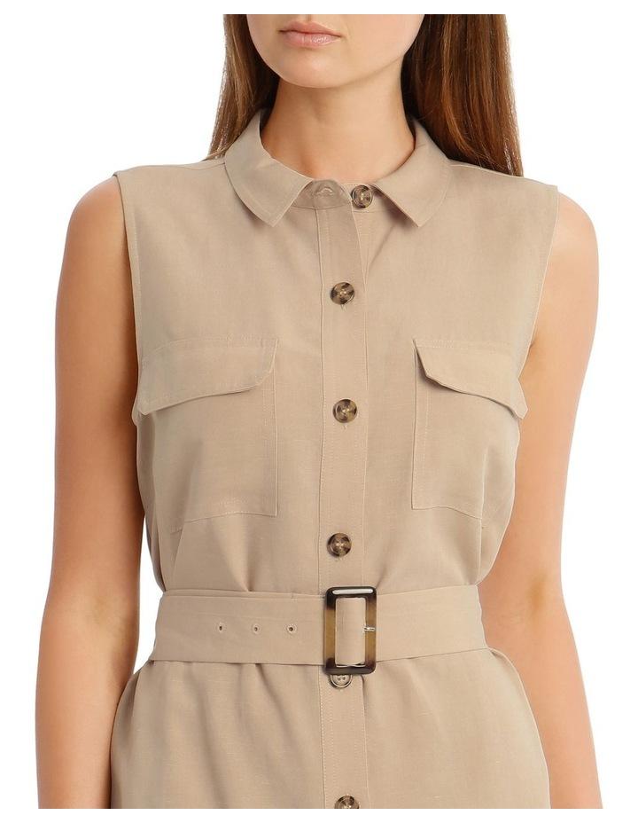 Linen Blend Sleeveless Shirt Dress image 4