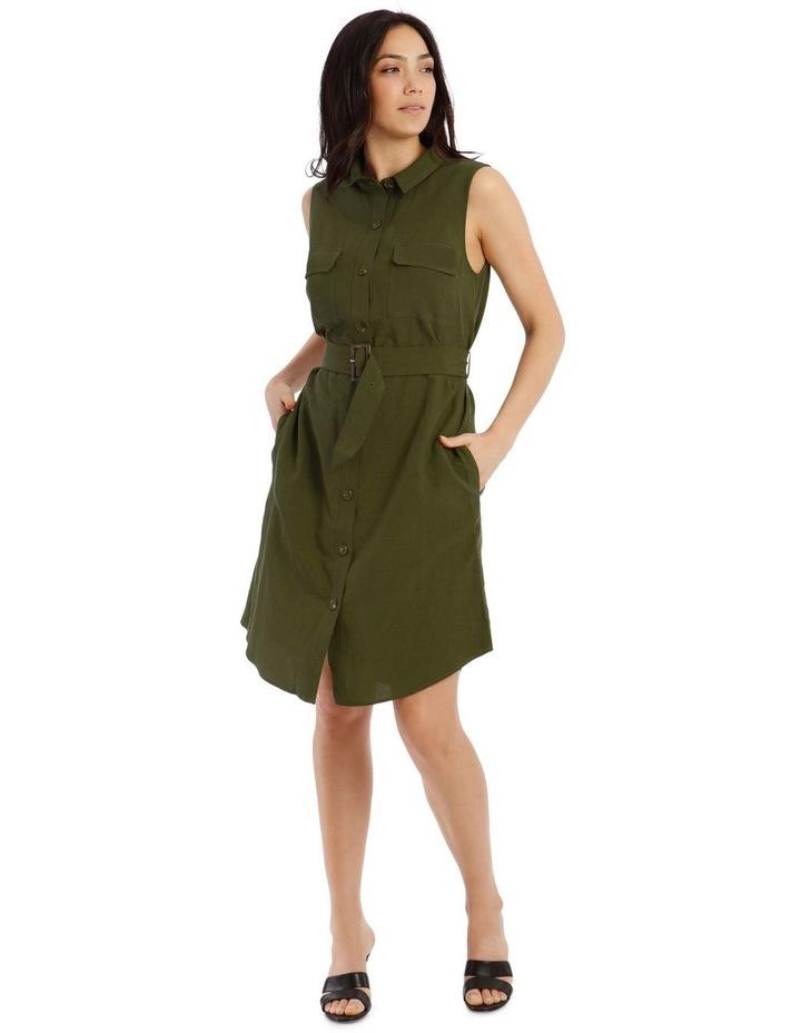 Sleeveless Linen Blend Shirt Dress image 1