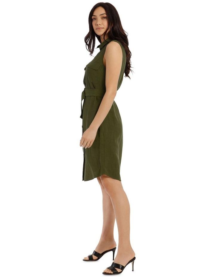 Sleeveless Linen Blend Shirt Dress image 2