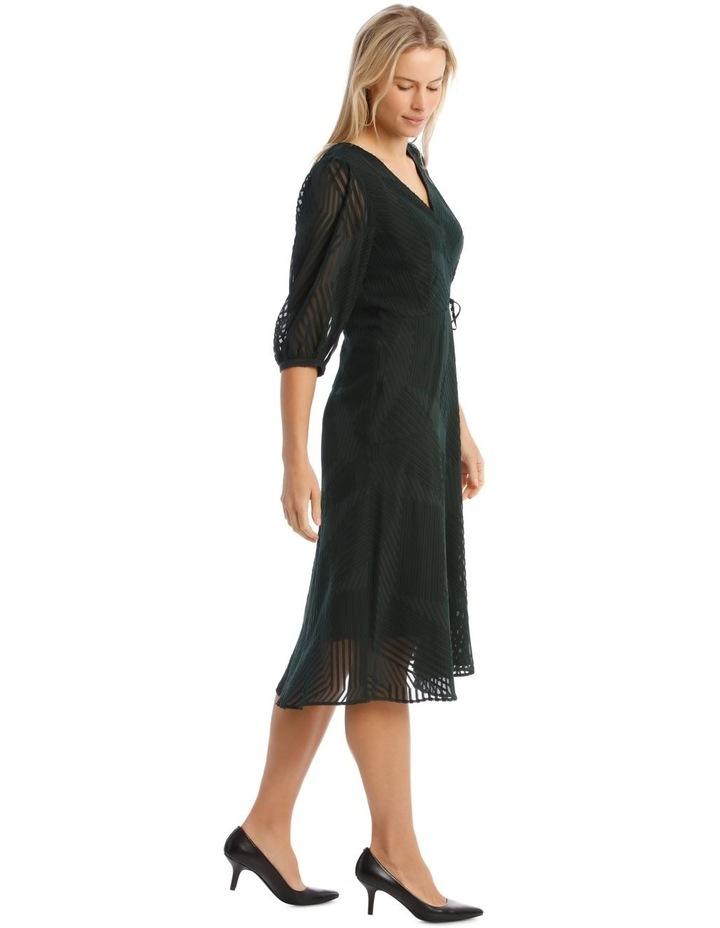 Dark Green Jacquard Wrap Dress image 2