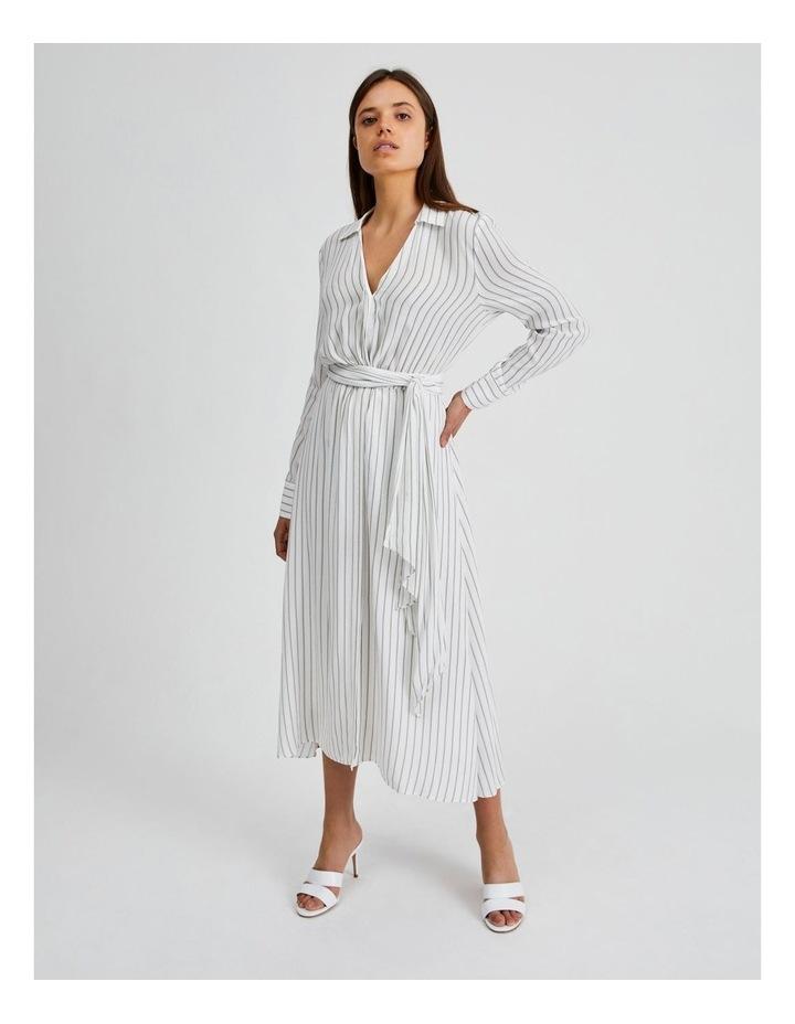 Stripe Wrap Midi Shirt Dress image 1