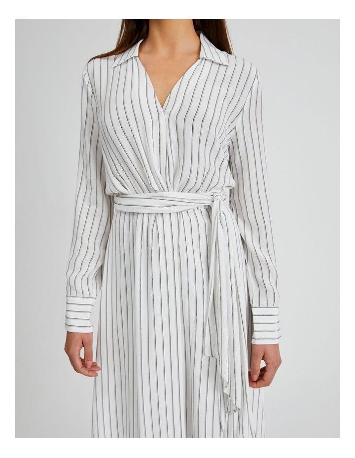 Stripe Wrap Midi Shirt Dress image 3