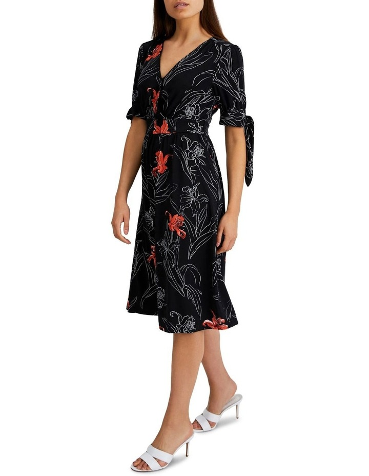 Tie Sleeve Jeresey Midi Dress in Black and Floral image 2