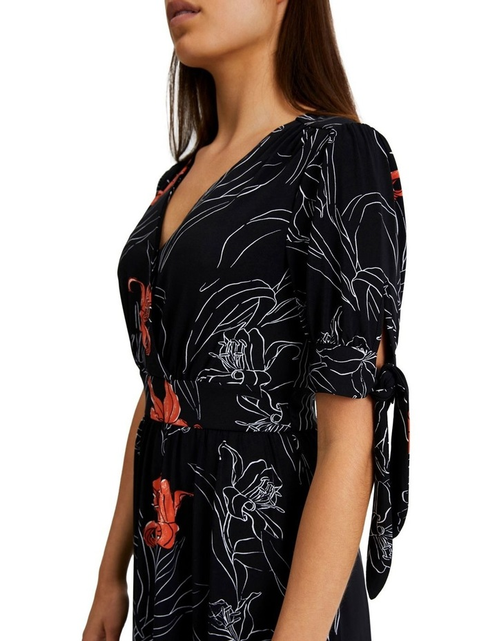 Tie Sleeve Jeresey Midi Dress in Black and Floral image 3