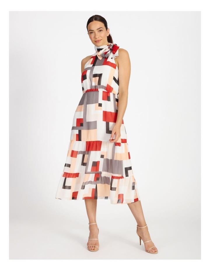 Tie Neck Geo Dress image 1