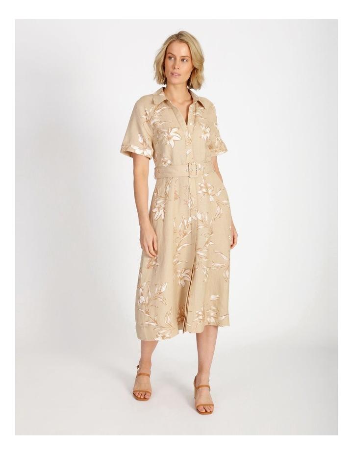Floral Printed Linen Shirt Dress image 1