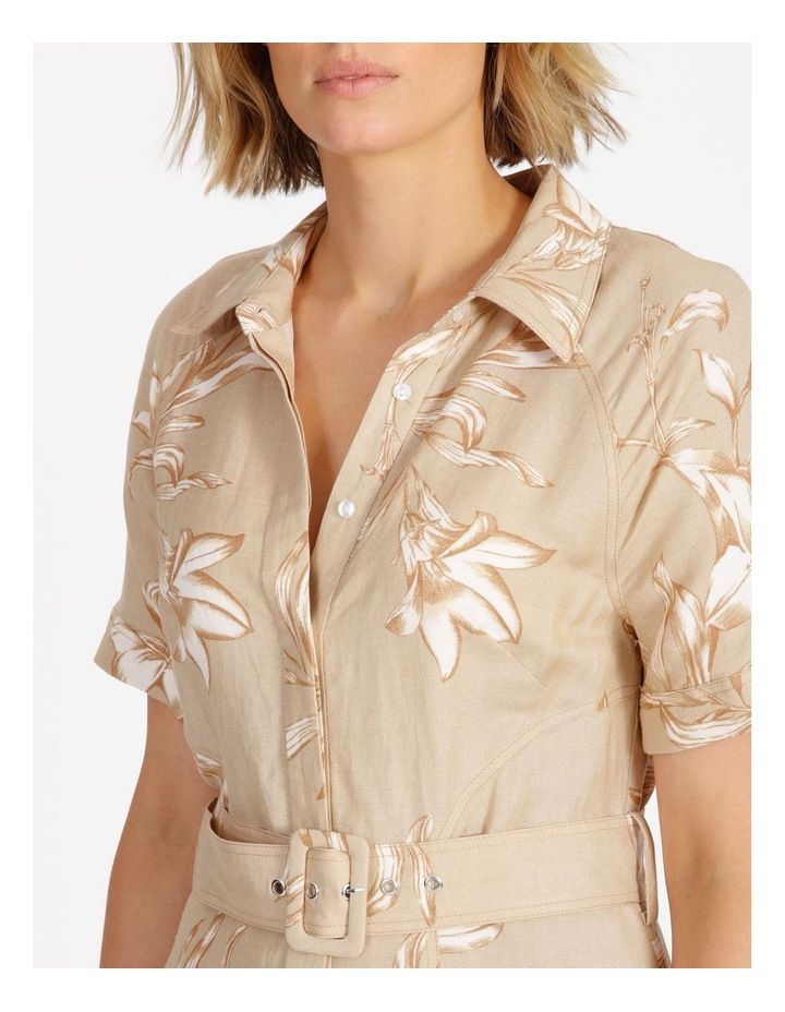 Floral Printed Linen Shirt Dress image 4