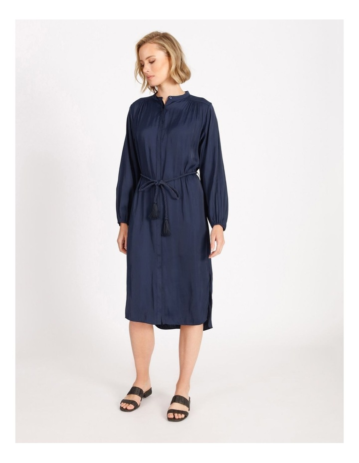 Relaxed Satin Shirt Dress image 1