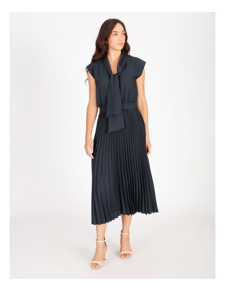 Neck Tie Blouson Pleated Dress image 1
