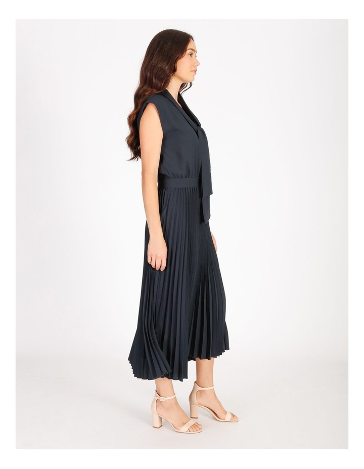Neck Tie Blouson Pleated Dress image 2