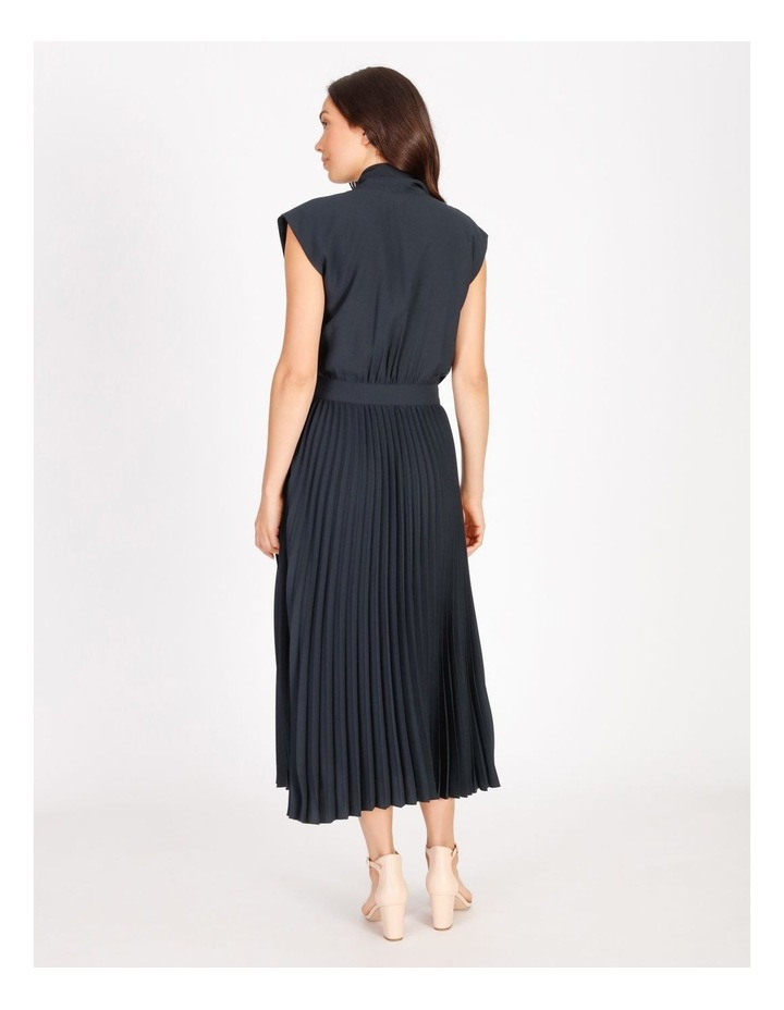 Neck Tie Blouson Pleated Dress image 3