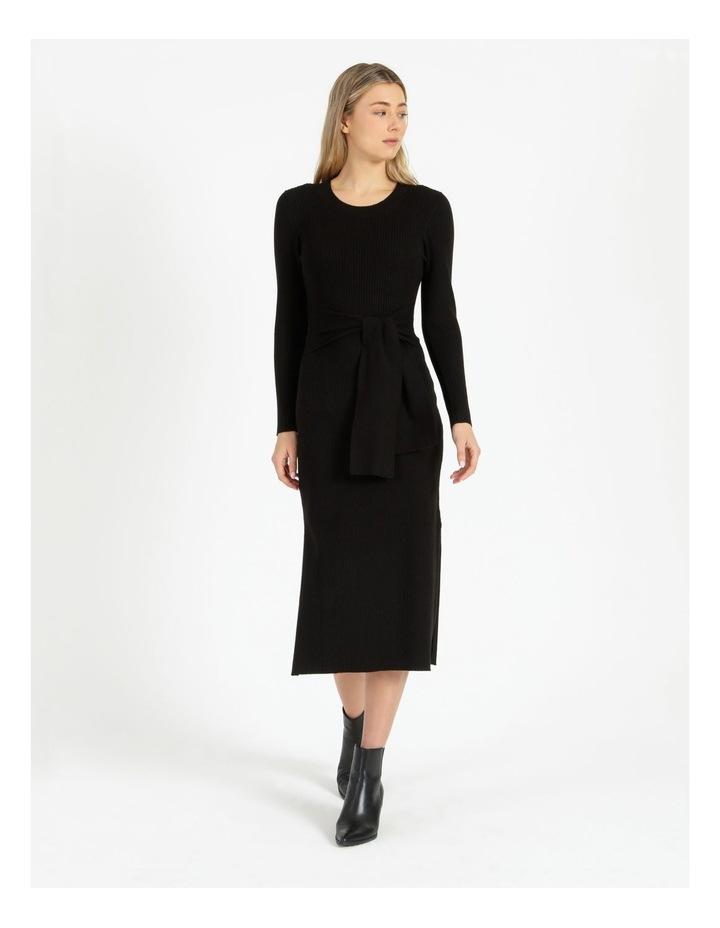 Tie Front Ribbed Midi Dress image 1