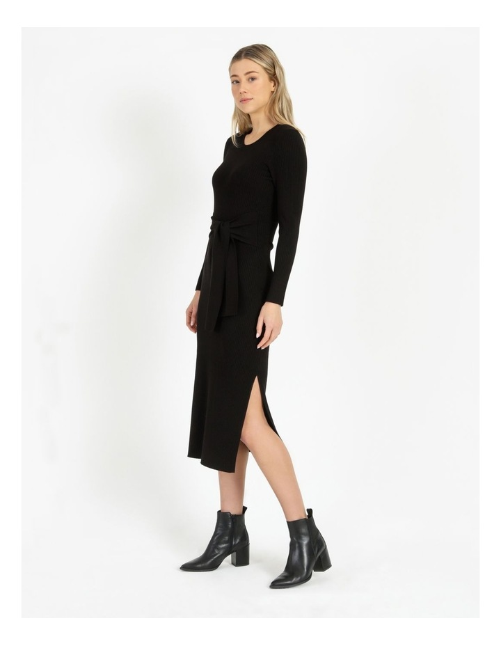 Tie Front Ribbed Midi Dress image 2