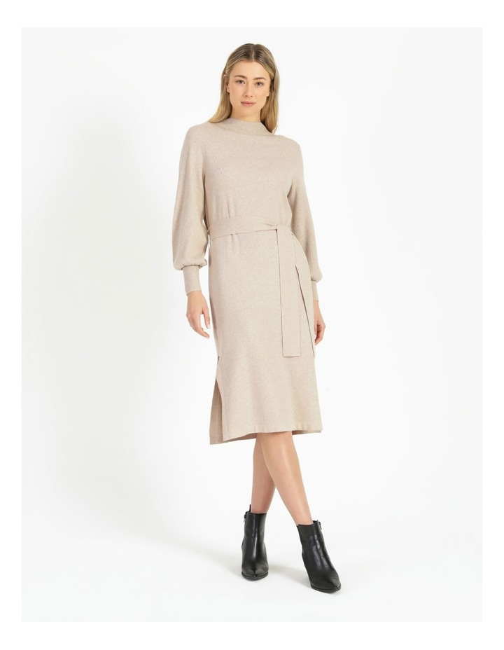 Puff Sleeve Ribbed Knitted Dress image 1