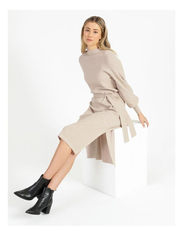 Puff Sleeve Ribbed Knitted Dress image 2