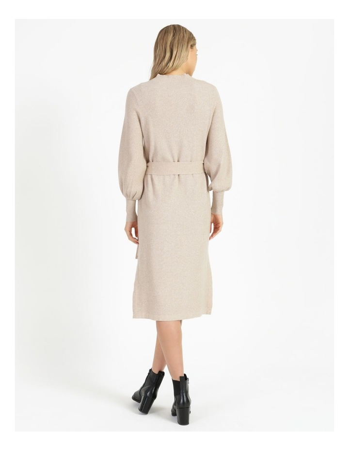 Puff Sleeve Ribbed Knitted Dress image 3