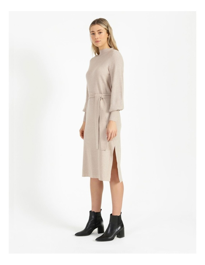 Puff Sleeve Ribbed Knitted Dress image 4
