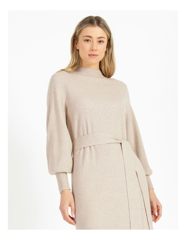 Puff Sleeve Ribbed Knitted Dress image 5