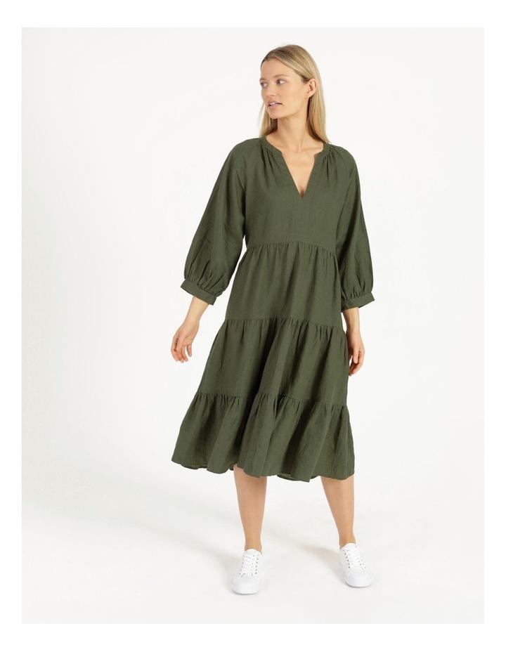 Puff Sleeve Tiered Khaki Midi Dress image 1