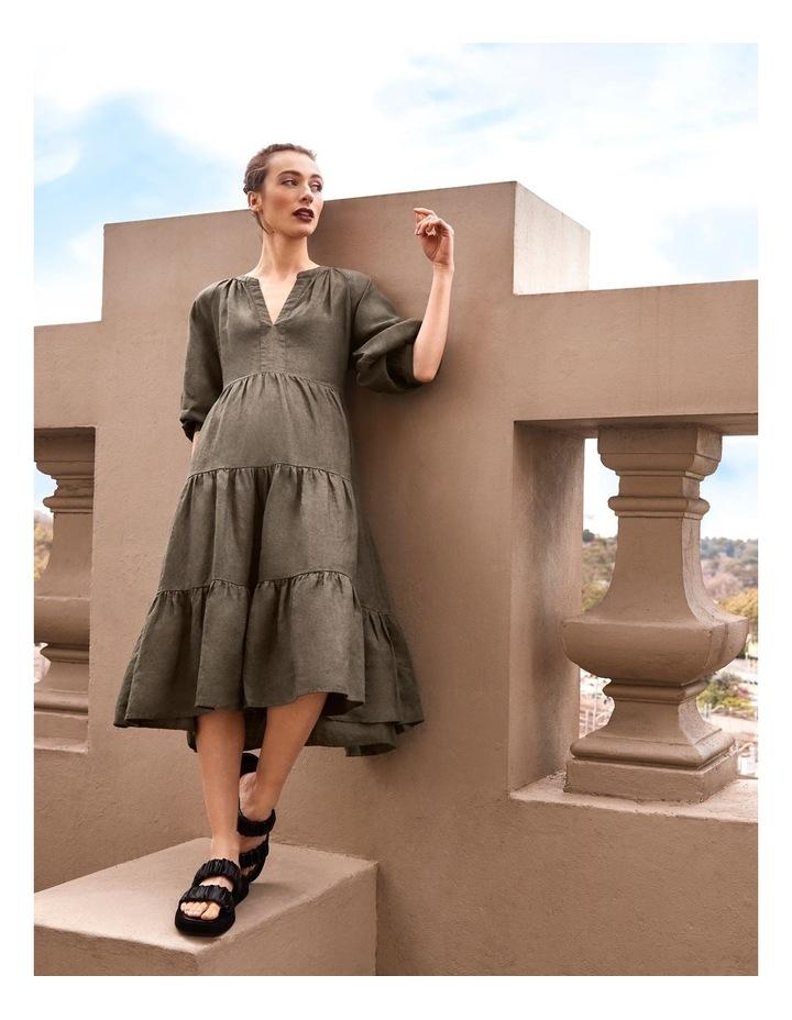 Puff Sleeve Tiered Khaki Midi Dress image 2