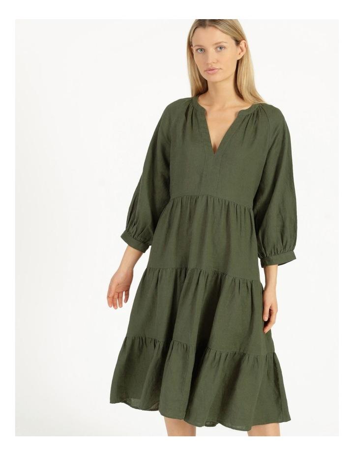 Puff Sleeve Tiered Khaki Midi Dress image 3