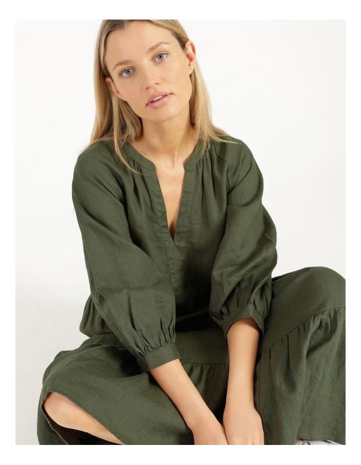 Puff Sleeve Tiered Khaki Midi Dress image 4